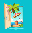 opened spring door open entrance with summer vector image