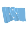 political waving flag of micronesia vector image vector image