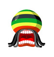 rastaman screams rasta cry open your mouth and vector image vector image