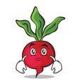 sad face radish character cartoon collection vector image vector image