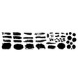 set grunge black paint ink brush strokes brush vector image
