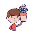 smiling young man holding flower in pot portrait vector image