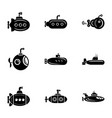 submarine cruiser icons set simple style vector image vector image