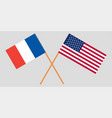 the french and united states flags crossed vector image vector image