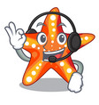 with headphone underwater sea in the starfish vector image vector image