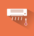 air conditioner icon with hot air vector image