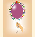 balloon in hand with little men in a circle vector image vector image