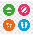 beach holidays icons umbrella and sandals vector image