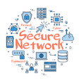 blue round secure network concept vector image vector image