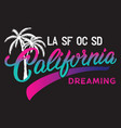california calligraphic design with palm vector image vector image