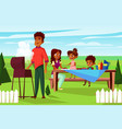 cartoon african family at picnic bbq party vector image