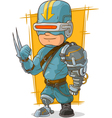 Cartoon cool combat cyborg superhero vector image vector image