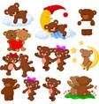 cartoon happy bear collection set vector image vector image