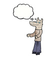 cartoon wolf man with thought bubble vector image vector image