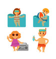 children holiday vacations at beach flat vector image vector image