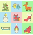Christmas and New Year icons on colored background vector image vector image