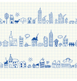 Cityscape seamless borders vector image vector image