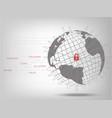 closed padlock protect world global network vector image