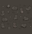 cute cartoon cat seamless pattern on dark vector image vector image