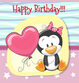 cute cartoon penguin girl with balloon vector image