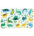 cute dinosaurs hand drawn color characters vector image vector image