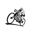 cyclist riding bicycle with eight-cylinder piston vector image vector image