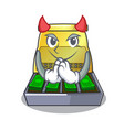 devil cash register with lcd display cartoon vector image