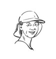 drawing woman portrait wearing cap for outdoor vector image