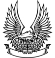Eagle emblem with wings spread and banner vector image