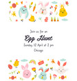 egg hunt invitation template with cute rabbits vector image vector image