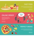 Fast food pizza delivery service fresh ingredients vector image vector image