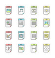 files format color icons set vector image