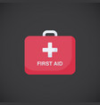 first aid kit box flat icon vector image vector image