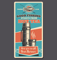 fishing sport items and thermos vector image