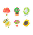 flower icon set cartoon style vector image vector image