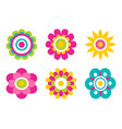 geometric shape flowers made of simple circles vector image vector image