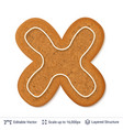 gingerbread letter x isolated on white vector image