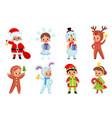 kids hold christmas gifts smiling boys vector image