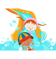 Kids on water slide vector | Price: 3 Credits (USD $3)