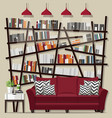 living room bookshelves vector image