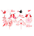 lovely graphic lovebirds isolated on white vector image