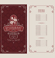 menu for restaurant with spoon and fork in hands vector image vector image