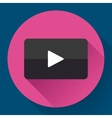 Modern flat video player icon on pink vector image vector image