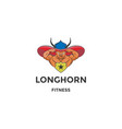 muscular angus cow bull longhorn mascot character vector image vector image