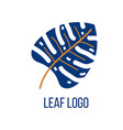 nature logo design template blue leaf symbol vector image