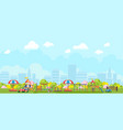 panoramic view of city playground in park vector image vector image