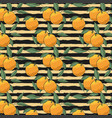 pattern of oranges on striped background vector image vector image