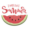 piece of watermelon with the inscription hello vector image vector image