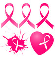 pink ribbon in five variations vector image vector image