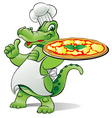 pizza alligator chef vector image vector image